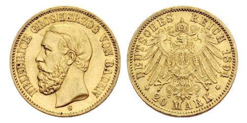 20 Mark Grand Duchy of Baden (1806-1918) Gold Friedrich I. (Baden, Großherzog) (1826 - 1907)
