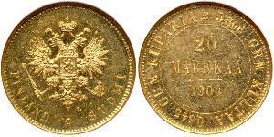 20 Mark Grand Duchy of Finland (1809 - 1917) / Russian Empire (1720-1917) Gold Alexander III (1845 -1894)