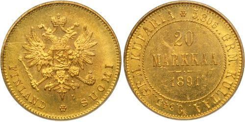 20 Mark Grand Duchy of Finland (1809 - 1917) / Russian Empire (1720-1917) Gold Alexander III (1845 -1894)