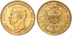 20 Mark Grand Duchy of Hesse (1806 - 1918) Gold Ernest Louis, Grand Duke of Hesse (1868 - 1937)