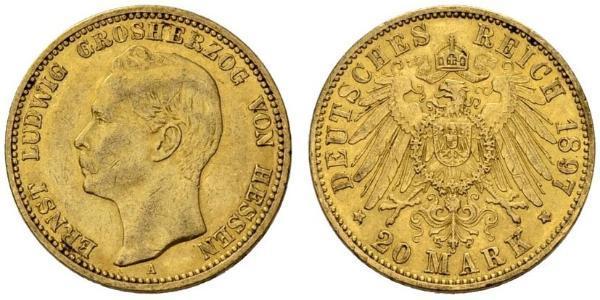 20 Mark Großherzogtum Hessen (1806 - 1918) Gold Ernst Ludwig (Hessen-Darmstadt, Großherzog) (1868 - 1937)