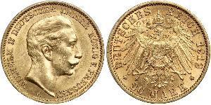 20 Mark Königreich Preußen (1701-1918) Gold Wilhelm II, German Emperor (1859-1941)
