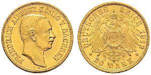 20 Mark Königreich Sachsen (1806 - 1918) Gold Friedrich August III. (Sachsen) (1865-1932)
