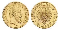 20 Mark Königreich Württemberg (1806-1918) Gold Karl (Württemberg)