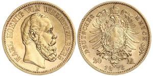 20 Mark Königreich Württemberg (1806-1918) Gold
