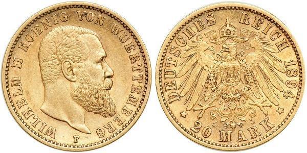 20 Mark Königreich Württemberg (1806-1918) Gold Wilhelm II, German Emperor (1859-1941)