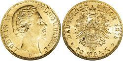 20 Mark Kingdom of Bavaria (1806 - 1918) Gold Ludwig II of Bavaria (1845 – 1886)