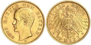 20 Mark Kingdom of Bavaria (1806 - 1918) Gold Otto of Bavaria (1848 – 1916)