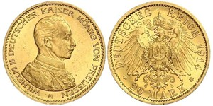 20 Mark Kingdom of Prussia (1701-1918) Gold Wilhelm II, German Emperor (1859-1941)
