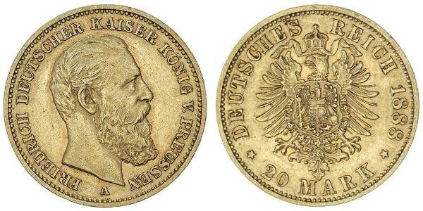 20 Mark Kingdom of Prussia (1701-1918) Gold Frederick III, German Emperor (1831-1888)