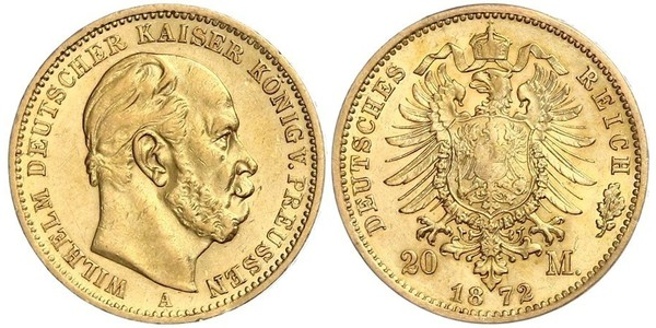 20 Mark Kingdom of Prussia (1701-1918) Gold Wilhelm I, German Emperor (1797-1888)