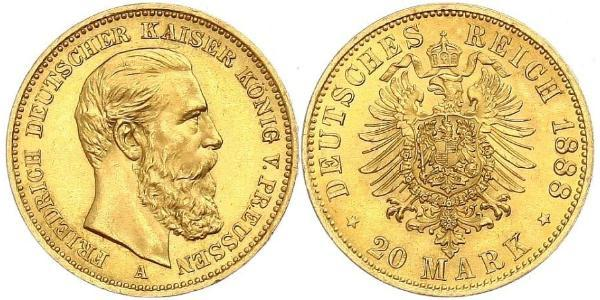 20 Mark Kingdom of Prussia (1701-1918) Gold Frederick III, German Emperor (1831-1888)