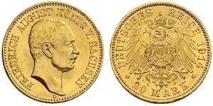 20 Mark Kingdom of Saxony (1806 - 1918) Gold Frederick Augustus III of Saxony (1865-1932)