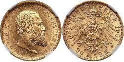 20 Mark Kingdom of Württemberg (1806-1918) Gold Wilhelm II, German Emperor (1859-1941)