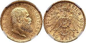20 Mark Kingdom of Württemberg (1806-1918) Gold Wilhelm II, German Emperor (1859-1941)