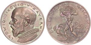 20 Mark Königreich Bayern (1806 - 1918) Kupfer Ludwig III. (Bayern) (1845 – 1921)