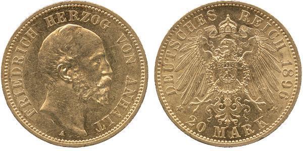 20 Mark Anhalt-Dessau (1603 -1863) Or Frederick I, Duke of Anhalt (1831-1904)