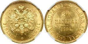 20 Mark Empire russe (1720-1917) / Grand-duché de Finlande (1809 - 1917) Or Alexandre III (1845 -1894)