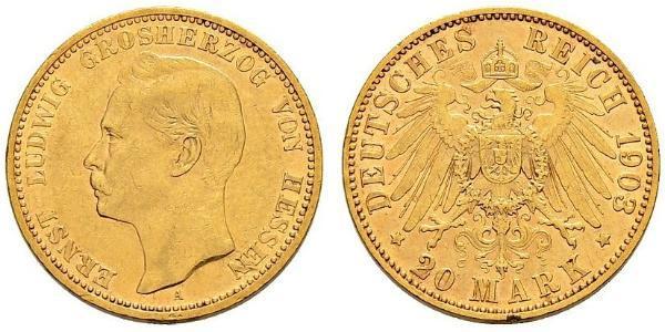 20 Mark Grand-duché de Hesse (1806 - 1918) Or Ernest-Louis de Hesse (1868 - 1937)