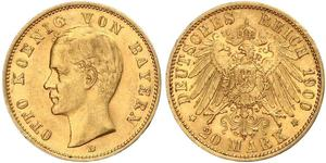 20 Mark Royaume de Bavière (1806 - 1918) Or Othon Ier de Bavière(1848 – 1916)