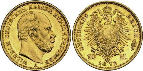 20 Mark Royaume de Prusse (1701-1918) Or Wilhelm I, German Emperor (1797-1888)