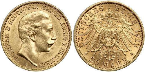 20 Mark Royaume de Prusse (1701-1918) Or Wilhelm II, German Emperor (1859-1941)