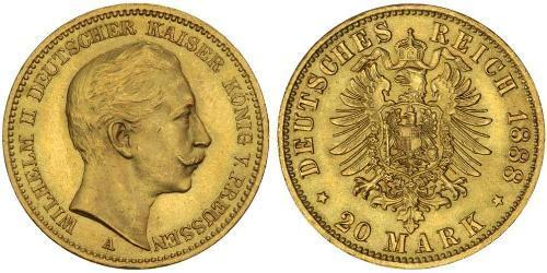 20 Mark Royaume de Prusse (1701-1918) Or Wilhelm II, German Emperor (1859-1941)