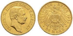 20 Mark Royaume de Saxe (1806 - 1918) Or Frédéric-Auguste III de Saxe (1865-1932)