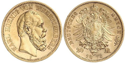 20 Mark Royaume de Wurtemberg (1806-1918) Or