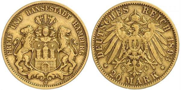 20 Mark Amburgo Oro