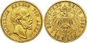 20 Mark Anhalt-Dessau (1603 -1863) Oro Federico I di Anhalt (1831-1904)