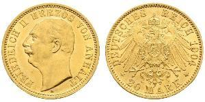 20 Mark Anhalt-Dessau (1603 -1863) Oro Federico II di Anhalt(1856 – 1918)