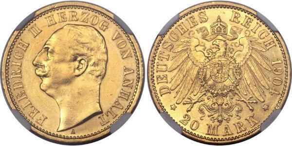 20 Mark Anhalt-Dessau (1603 -1863) Oro Federico II de Anhalt(1856 – 1918)
