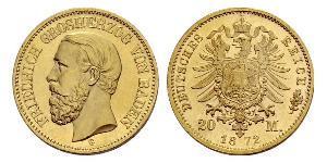 20 Mark Gran Ducado de Baden (1806-1918) Oro Federico I de Baden (1826 - 1907)