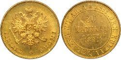 20 Mark Gran Ducado de Finlandia (1809 - 1917) / Imperio ruso (1720-1917) Oro Alejandro III (1845 -1894)