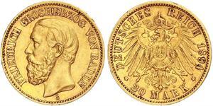 20 Mark Grand Duchy of Baden (1806-1918) Oro Federico I di Baden (1826 - 1907)