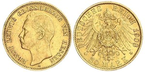 20 Mark Hesse-Darmstadt (1806 - 1918) Oro Ernesto Luis de Hesse-Darmstadt (1868 - 1937)