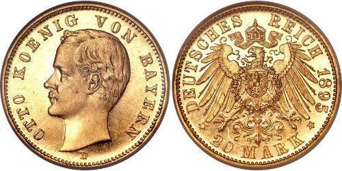 20 Mark Regno di Baviera (1806 - 1918) Oro Ottone di Baviera(1848 – 1916)