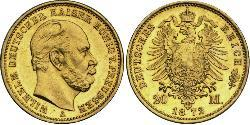 20 Mark Regno di Prussia (1701-1918) Oro Wilhelm I, German Emperor (1797-1888)