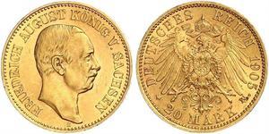 20 Mark Regno di Sassonia (1806 - 1918) Oro Federico Augusto III di Sassonia (1865-1932)