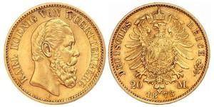 20 Mark Regno di Württemberg (1806-1918) Oro