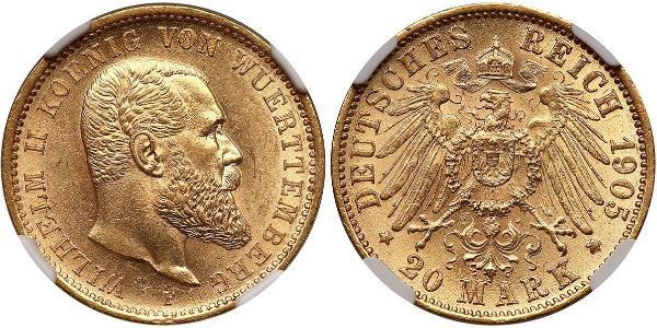 20 Mark Regno di Württemberg (1806-1918) Oro Wilhelm II, German Emperor (1859-1941)