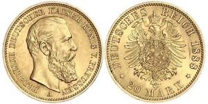 20 Mark Reino de Prusia (1701-1918) Oro Federico III de Alemania (1831-1888)
