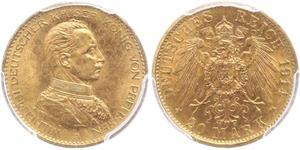 20 Mark Reino de Prusia (1701-1918) Oro Wilhelm II, German Emperor (1859-1941)