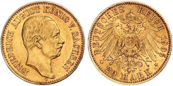 20 Mark Reino de Sajonia (1806 - 1918) Oro Federico Augusto III de Sajonia (1865-1932)