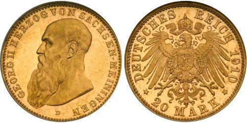 20 Mark Stati federali della Germania Oro Giorgio II di Sassonia-Meiningen