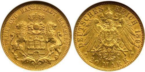 20 Mark Stati federali della Germania Oro