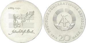 20 Mark República Democrática Alemana (1949-1990) Plata
