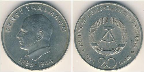 20 Mark República Democrática Alemana (1949-1990) Plata Ernst Thälmann