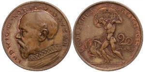 20 Mark Regno di Baviera (1806 - 1918) Rame Ludovico III di Baviera (1845 – 1921)